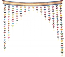 Toran, door curtain with colourful birds