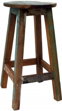 Vintage bar stool made of recycled wood - model 3