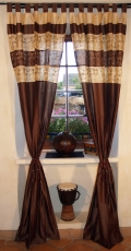Curtain, curtain (1 pair of curtains) - brown