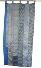 Curtain (1 pc.) curtain made of patchwork fabric, unique - blue c..