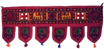 Indian tapestry, Oriental pennant with sequins, Toran - elephant ..