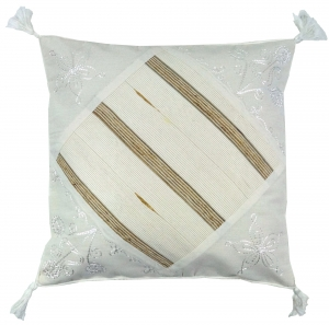 Ethno cushion cover, country house cushion cover, cotton white - Pattern 1 - 40x40x1 cm