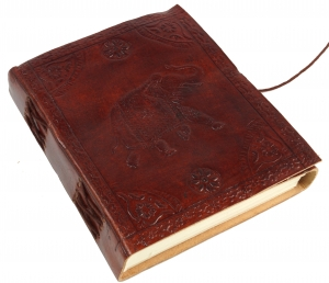 Notebook, leather book, diary with leather cover - Elephant 12*15 cm